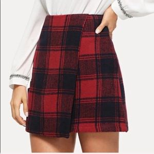 Red & Navy Plaid Wrap Skirt